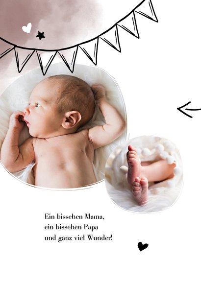Danksagung Geburt eigenes Foto rosa Wasserfarbe 2