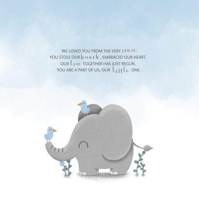 Danksagung Geburt Elefant blau Foto innen 2