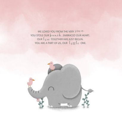 Danksagung Geburt Elefant rosa Foto innen 2