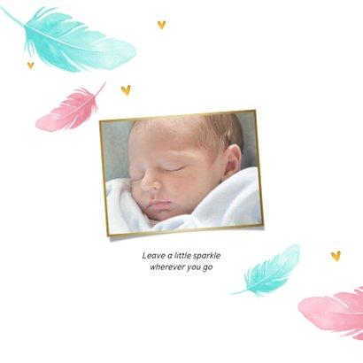 Danksagung Geburt Federn blau & rosa Foto innen 2