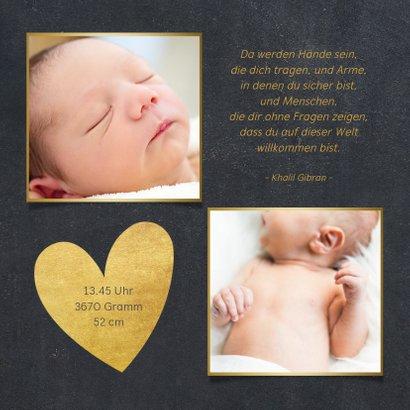 Danksagung Geburt Fotos Goldherz auf Kreidetafel 2