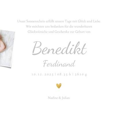 Danksagung Geburt Fotos und Goldakzente 3