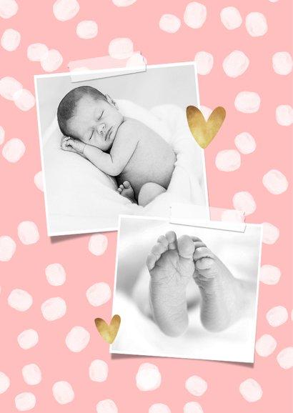 Danksagung Geburt Fotos und Tupfen rosa 2