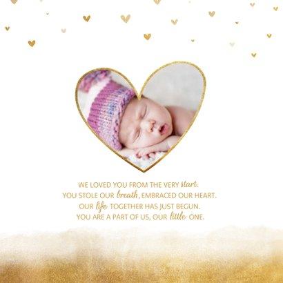 Danksagung Geburt Goldoptik Herzen und Foto innen 2
