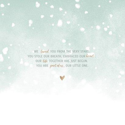 Danksagung Geburt grün eigenes Foto & Schnee 2