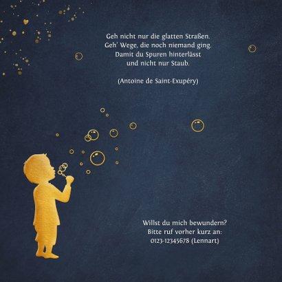 Danksagung Geburt Junge Silhouette mit Seifenblasen 2