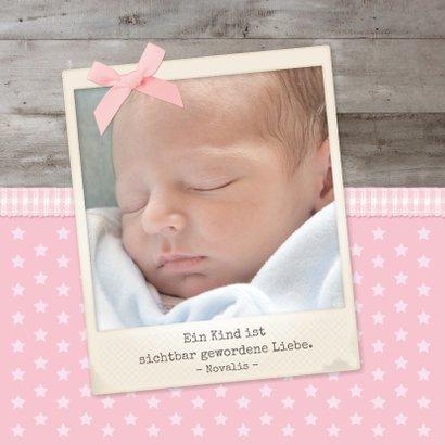 Danksagung Geburt klassisch Fotos und Schleife 2