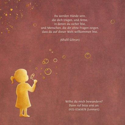 Danksagung Geburt Mädchen Silhouette mit Seifenblasen 2