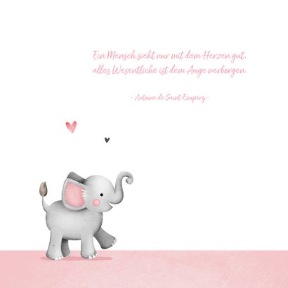 Danksagung Geburt mit eigenem Foto & Elefant 2