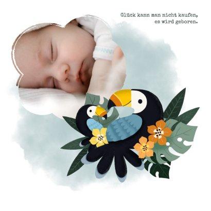 Danksagung Geburt mit kleinem & großen Tukan Foto innen 2