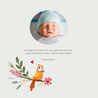 Danksagung Geburt Papagei in Blumenkranz Foto innen 2