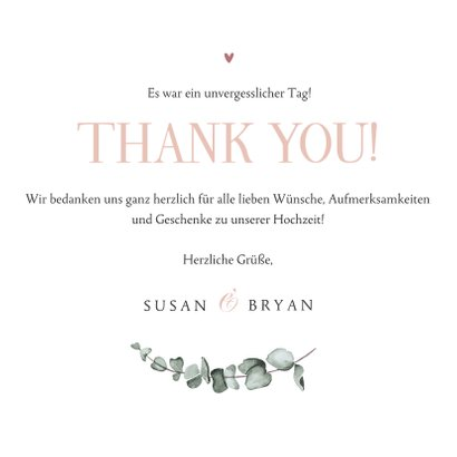 Danksagung rosé Fotocollage 'thank you' und Trockenblumen 3