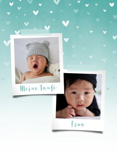 Danksagung Taufe blau Fotos & zuckersüße Herzen 2
