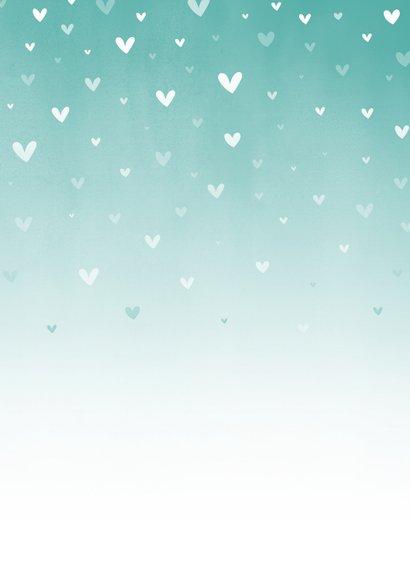 Danksagung Taufe blau Fotos & zuckersüße Herzen Rückseite