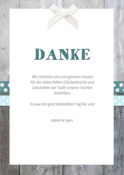 Danksagung Taufe blaue Bänder, Holzlook & Foto 3