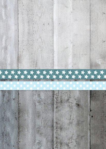 Danksagung Taufe blaue Bänder, Holzlook & Foto Rückseite