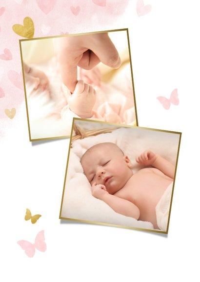 Danksagung Taufe Foto & Herzen auf Aquarell 2
