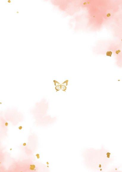 Danksagung Taufe Fotos goldener Schmetterling Rückseite