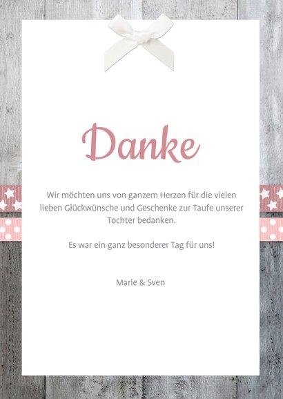 Danksagung Taufe rosa Bänder, Holzlook & Foto 3