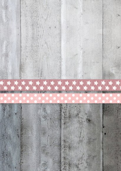 Danksagung Taufe rosa Bänder, Holzlook & Foto Rückseite