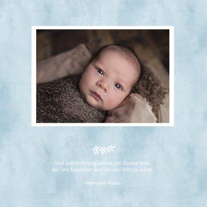 Danksagung zur Geburt blauem Herz Aquarelloptik Foto innen 2