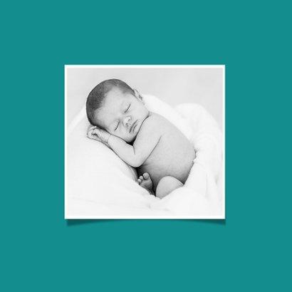 Danksagung zur Geburt blaugrün mit Fotos und Herz 2