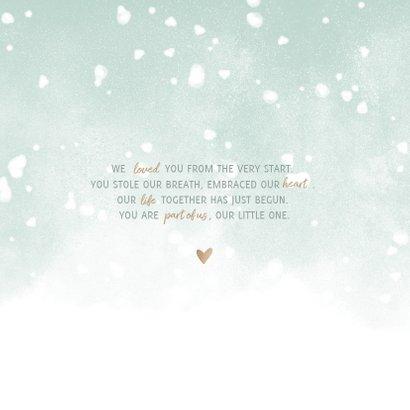 Danksagung zur Geburt eigenes Foto Schneeflocken grün 2