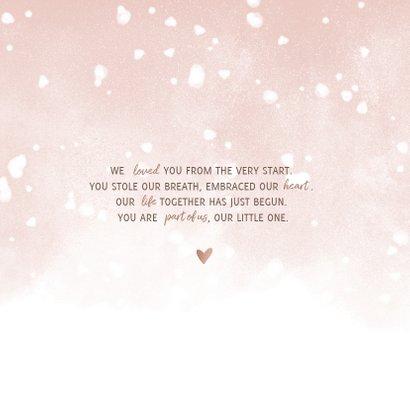 Danksagung zur Geburt eigenes Foto Schneeflocken rosa 2