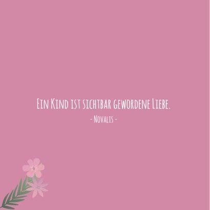 Danksagung zur Geburt Foto und Blumen rosa 2
