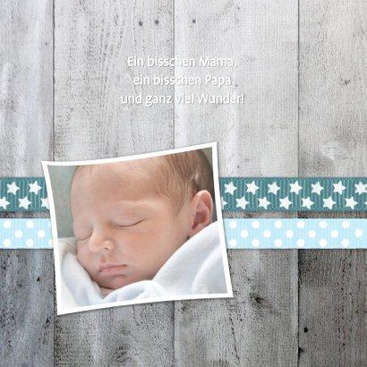 Danksagung zur Geburt Foto und Herz Schleife blau 2