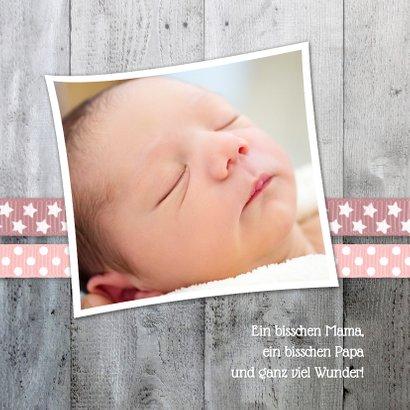 Danksagung zur Geburt Foto und Herzen rosa 2
