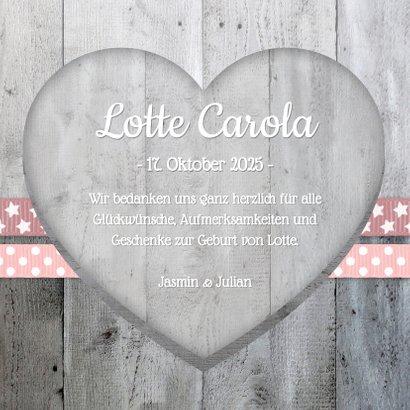 Danksagung zur Geburt Foto und Herzen rosa 3