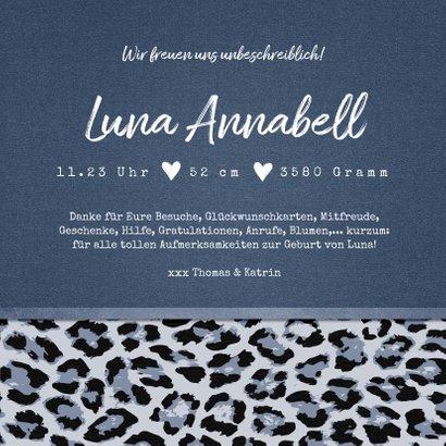 Danksagung zur Geburt Foto & Leopardenprint blau 3