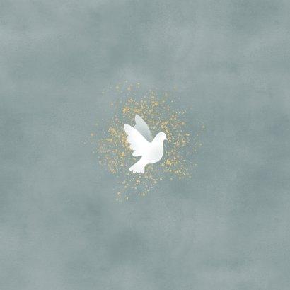 Danksagung zur Geburt Fotos mit Tauben blau Rückseite