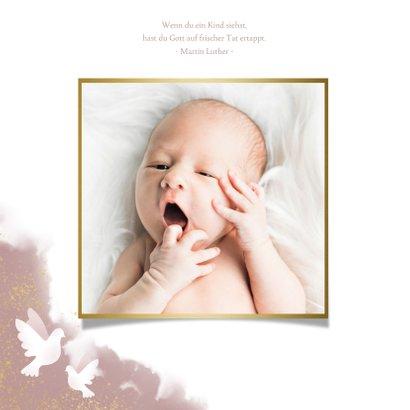 Danksagung zur Geburt Fotos mit Tauben rosé 2