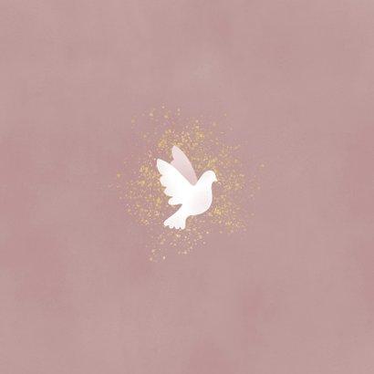 Danksagung zur Geburt Fotos mit Tauben rosé Rückseite