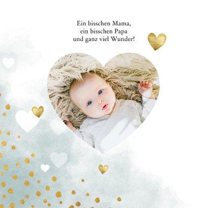 Danksagung zur Geburt Herzen blau & Foto innen 2