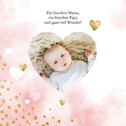 Danksagung zur Geburt Herzen rosa & Foto innen 2