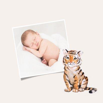 Danksagung zur Geburt klassisch Tiger mit Foto innen 2