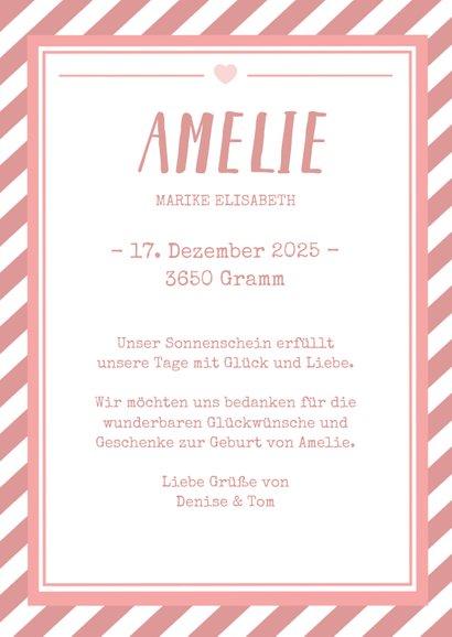 Danksagung zur Geburt Poster grafisch rosa mit Foto  3