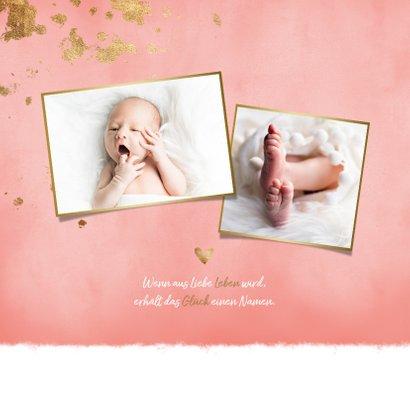 Danksagung zur Geburt rosa Fotos Goldlook 2
