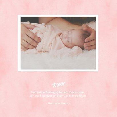 Danksagung zur Geburt rosa Herz Aquarelloptik Foto innen 2