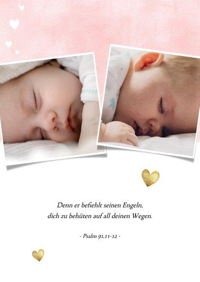 Danksagung zur Taufe rosa mit Fotos und Herzen 2