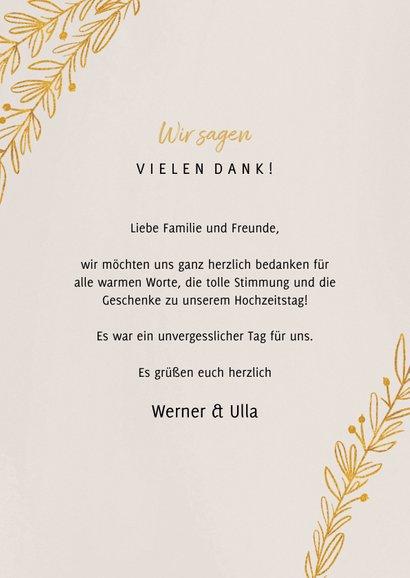 Danksagungskarte Goldene Hochzeit Foto & Zweige 3