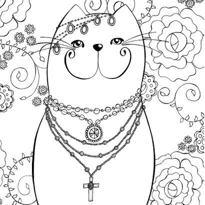 Dierenkaart - Bohemian kat met kleurplaat 2