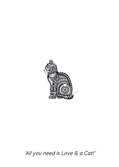 Dierenkaart Kat zwart-wit illustratie 2