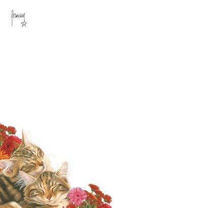 Dikke Knuffel kaart met katten en bloemen 2