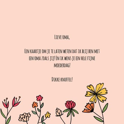 Dikke knuffel oma - hearts and flowers - moederdagkaart 3