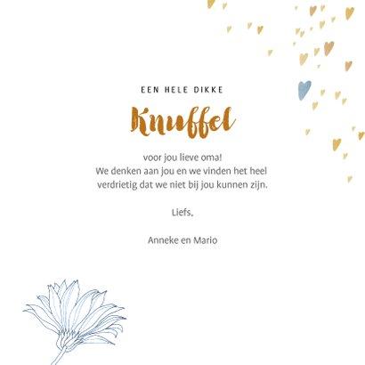 Dikke Knuffel voor Oma met pentekening bloemen 3