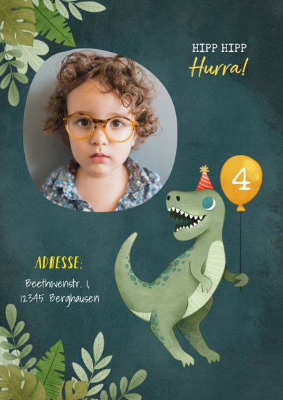 Dinosaurier Einladungskarte mit eigenem Foto 2